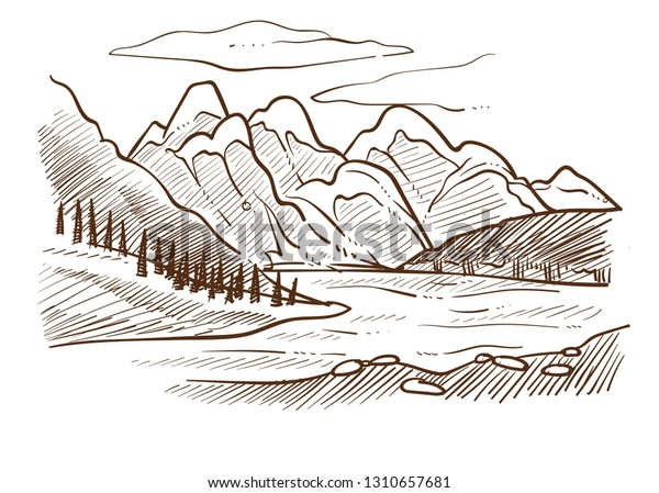 Landscape Mountains River Forest Hills Valley Stock Vector Royalty Free 1310657681