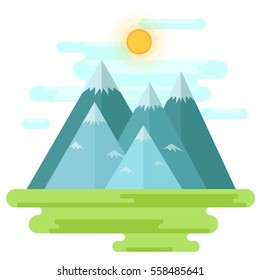 Landscape with mountains and shiny sun - vector flat style design. Illustration with outdoor mountains view, beautiful sunny day picture