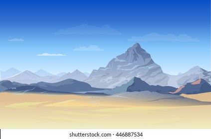 Landscape with mountains and sunset. Blue color