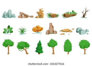Landscape Natural Elements Set Of Detailed Icons