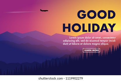 """Landscape natural view of mountain range with pine tree forest in silhouette style with beautiful sky of sunrise/sunset and airplane fly in the sky with copy space for text""""Good Holiday"""""""