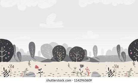 Landscape nature illustration in scandinavian style. cartoonish and childish