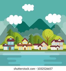 landscape with neighborhood and lake scene