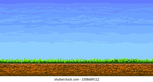 Landscape page of pixel game, cloudy sky, underground and grass, Pixeleted background for video-game or app 8bit game