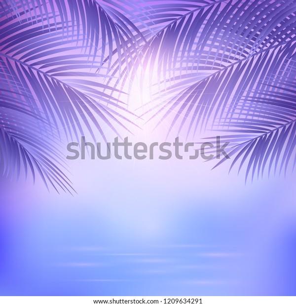 Landscape Palm Ocean Tropical Leaves Background Stock Vector Royalty Free 1209634291 Itupun sebenarnya banyak yang ngga terekam. shutterstock
