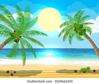 Landscape of palm tree on beach. Sun with reflection in water and clouds. Day in tropical place. Vector illustration in flat style