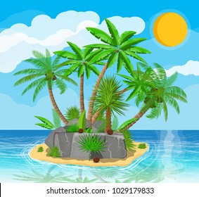 Landscape of palm tree on beach. Island, coconuts and stones. Sun with reflection in water and clouds. Day in tropical place. Vector illustration in flat style