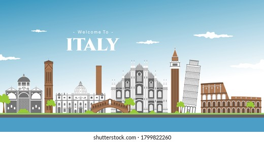Landscape panoramic of Italy with Piza square buildings, Campanile and Cathedral of Pisa Cathedral (Duomo di Pisa). The Leaning Tower of Pisa is one of the main landmark in Italy. Vector illustration