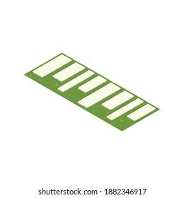 Landscape park flowerbed design decorative isometric vector illustration