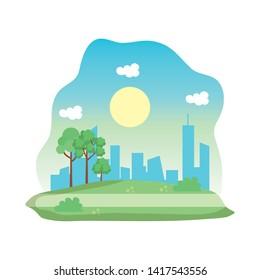 landscape park scene icon vector illustration
