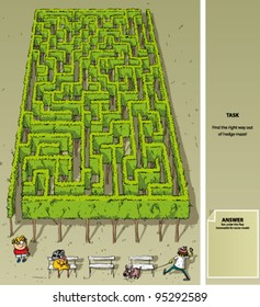 Landscape Park Trees Maze Game (with solution)
