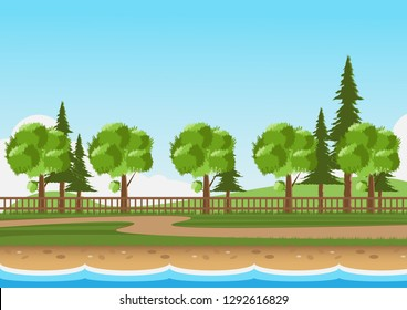 Landscape of park with walkway on the grass.