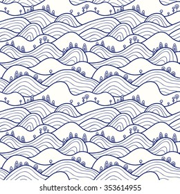 Landscape pattern. Vector seamless pattern with hills, trees, fields and peaks. Background illustration with bright landscape.