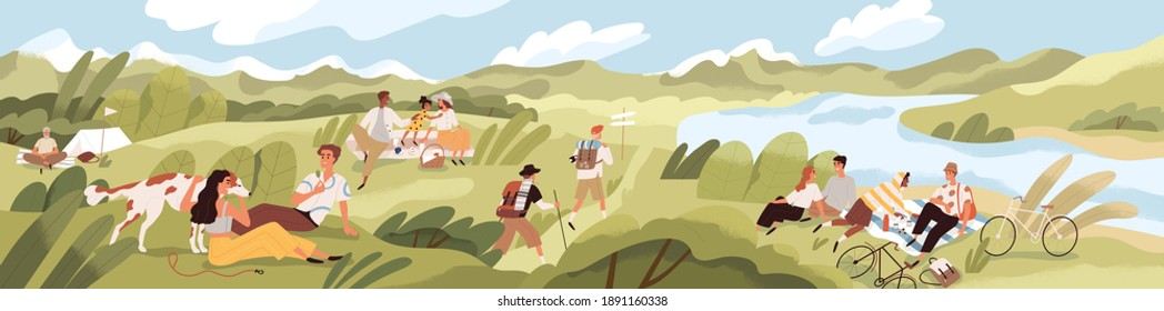 Landscape with people spending summer time outdoor. Men and women with children and pets relaxing in nature, having picnics and hiking on sunny day. Colored textured flat vector illustration.