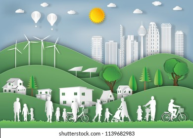 landscape of peoples exercise and relax in the morning city on summer, fresh air in the park as nature, healthy, paper art and craft style concept. vector illustration