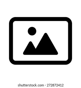Landscape photo image or picture placeholder flat vector icon for apps and websites