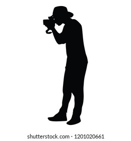 Landscape photographer with camera without tripod vector silhouette. Paparazzi shooting on the event illustration isolated. Photo reporter on duty.  Journalist work for breaking news