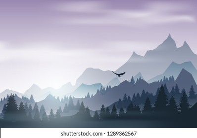 Landscape with pine forest and mountains at sunset