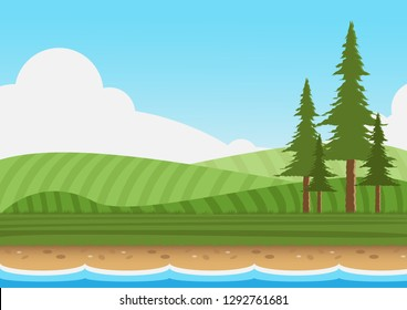 Landscape with pine on lawn and sky background.