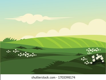 Landscape prairie with the flowers for backgrund illustartion and image