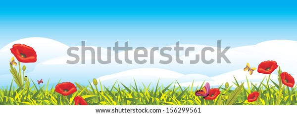 landscape-red-poppies-vector-600w-156299