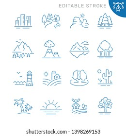 Landscape related icons. Editable stroke. Thin vector icon set, black and white kit