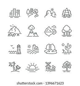Landscape related icons: thin vector icon set, black and white kit