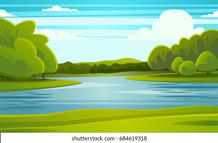landscape with river vector illustration