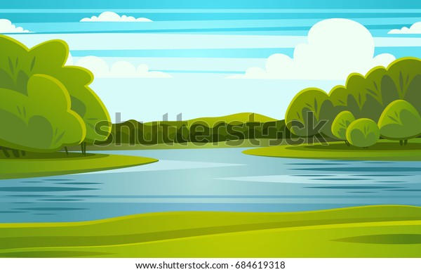 landscape river vector illustration stock vector royalty free 684619318 https www shutterstock com image vector landscape river vector illustration 684619318