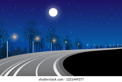 landscape of road in the forest at night