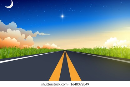 landscape of road in the morning in summer