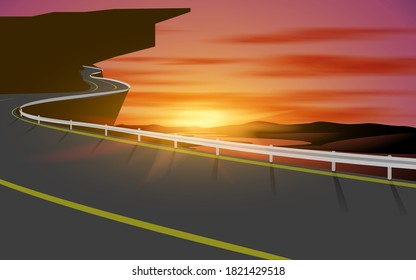landscape of road on the mountain   in the morning