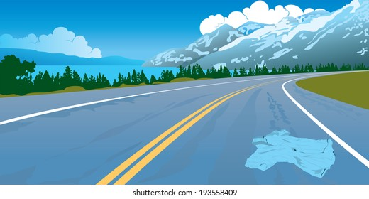 Landscape the road on which the lost shirt lays mountains wood crash safety danger knock down a man dead