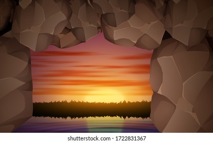 landscape of rock cave in the ocean in morning