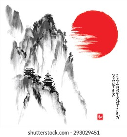 "Landscape with rocky mountains and sun in traditional japanese sumi-e style. Vector illustration. Hieroglyph ""harmony"""