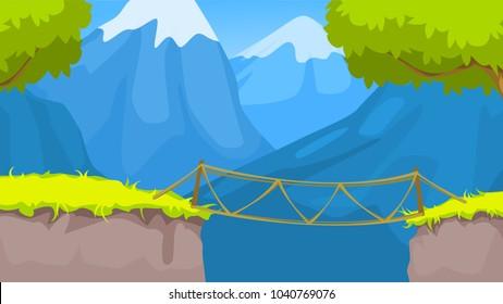 landscape with rope bridge