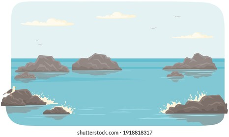 Landscape with salty water on seashore. Waves hit rocks and spray scatters. Water surface of sea with stones. Ocean landscape vector illustration. Vacation at sea and pastime in fresh air concept
