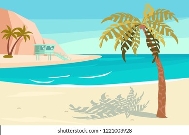 Landscape with sand tropical Beach. Summer Seaside With Palm and rock scene. Vector illustration eps 10