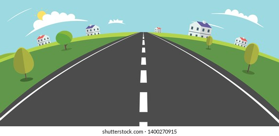 Landscape scene with road , trees and rural home vector illustration.Main street to village Fisheye view.Village scene with nature background.Beautiful nature landscape.