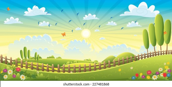 Landscape Scene Vector Illustration