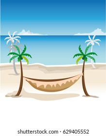 Landscape with sea, coconut trees and even a hammock to relax.