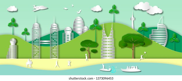 landscape sea view and jet ski in summer outdoor with city background of paper art style,vector or illustration with travel concept