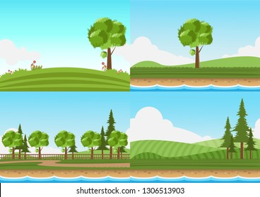 Landscape set of lawn with river on blue sky background.