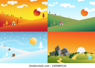 Landscape set with spring,autumn and winter.