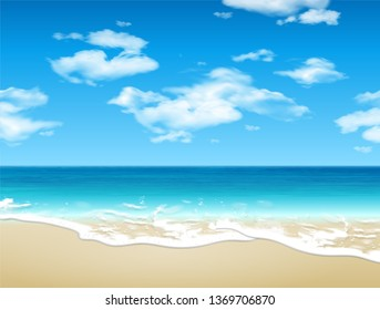 Landscape. Shore of the azure sea, sandy beach and clouds in the sky. 3D vector. High detailed realistic illustration
