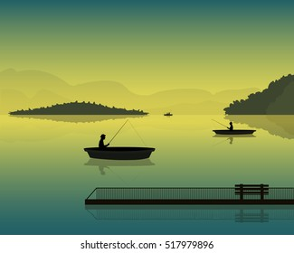 landscape with the silhouette of fishermen in a boat at sunset, mountains and forests