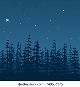 landscape with silhouette of forest at night. Sky, stars, wood, trees, firs, mist, polar star, great bear. Shadows. Vector illustration. For prints, posters, wallpapers, web, background, greeting card