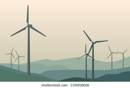 Landscape silhouette view in the early morning of mountain range with many windmills in the wind farm on the mountain in summer sunshine with clear blue sky day