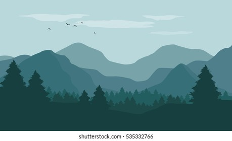Landscape with silhouettes of blue mountains, hills and forest with flying birds on blue sky in background - vector illustration