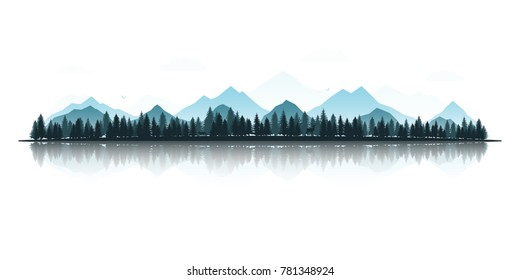 Landscape with silhouettes of deer, fox, eagles, mountains and forests. Panoramic view with reflection. Vector illustration.